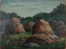 Modernist Edith Bry Painting - Hayfields