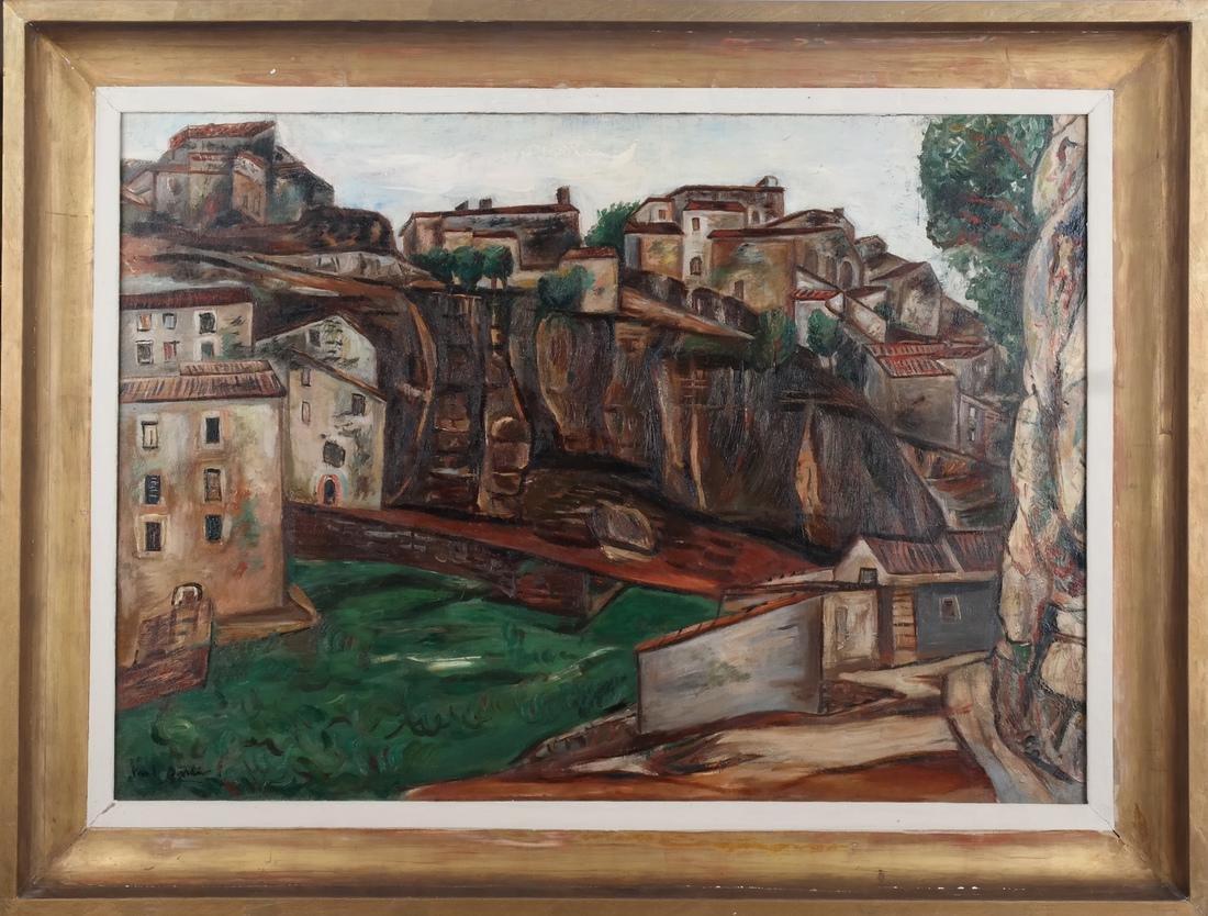 Paul Burlin, Untitled (Village on the Sea)