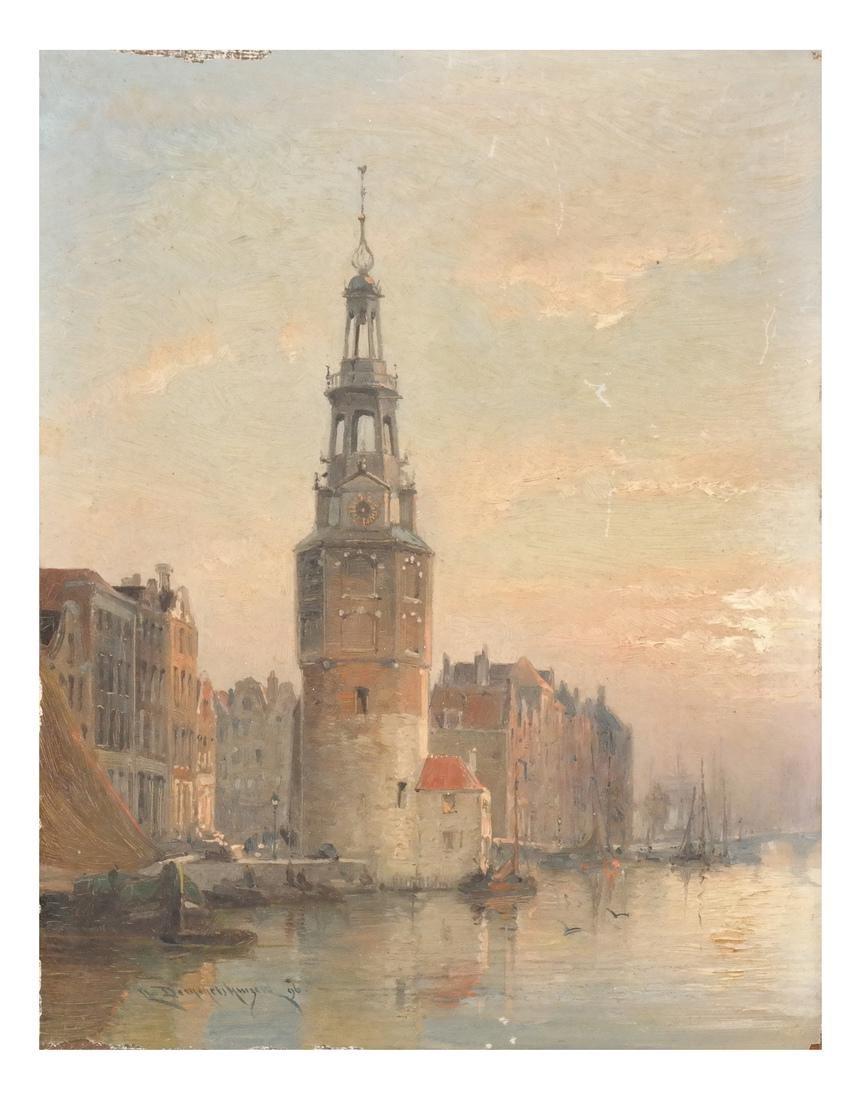 Chr. Dommershuizen Dutch Canal Scene, O/B