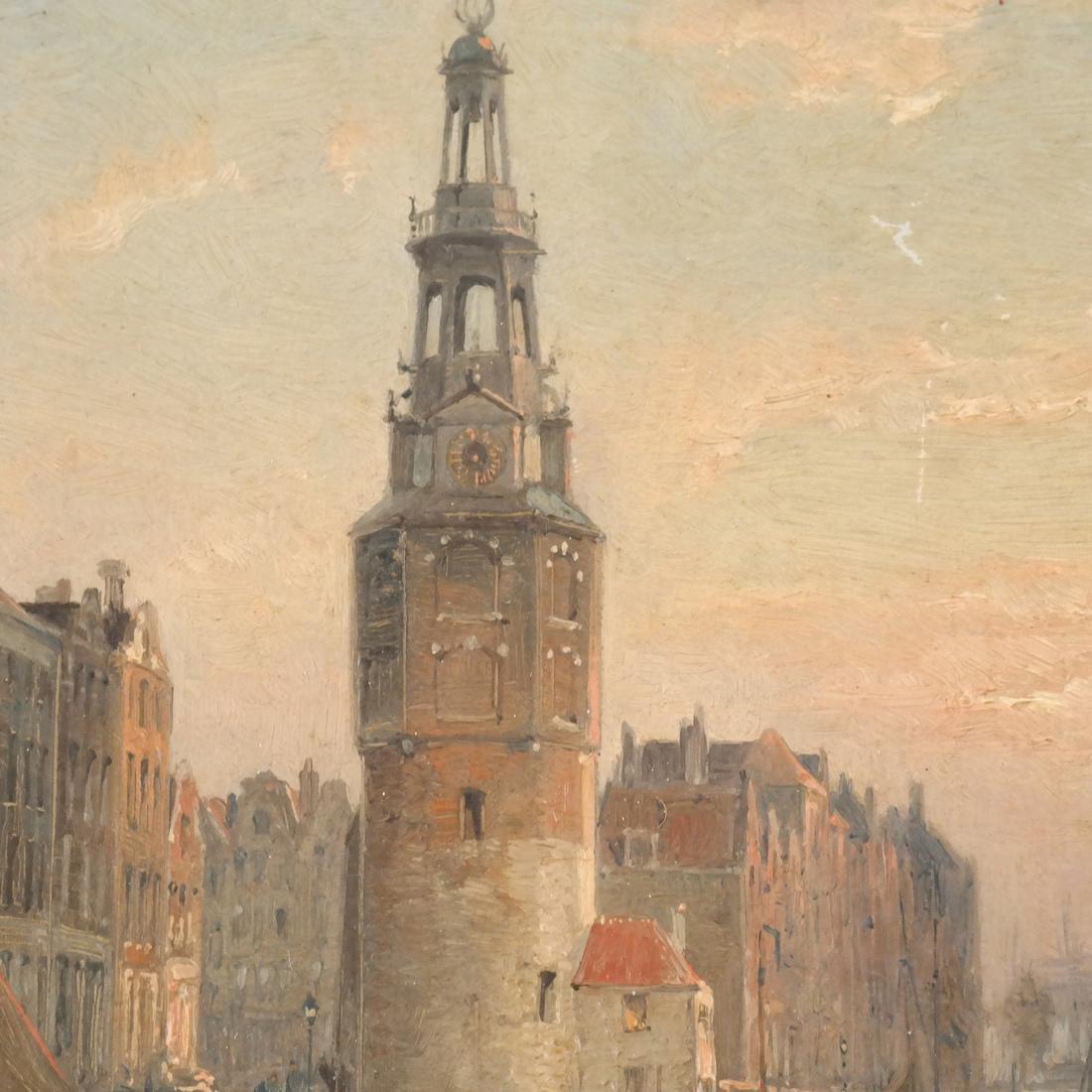 Chr. Dommershuizen Dutch Canal Scene, O/B - 4