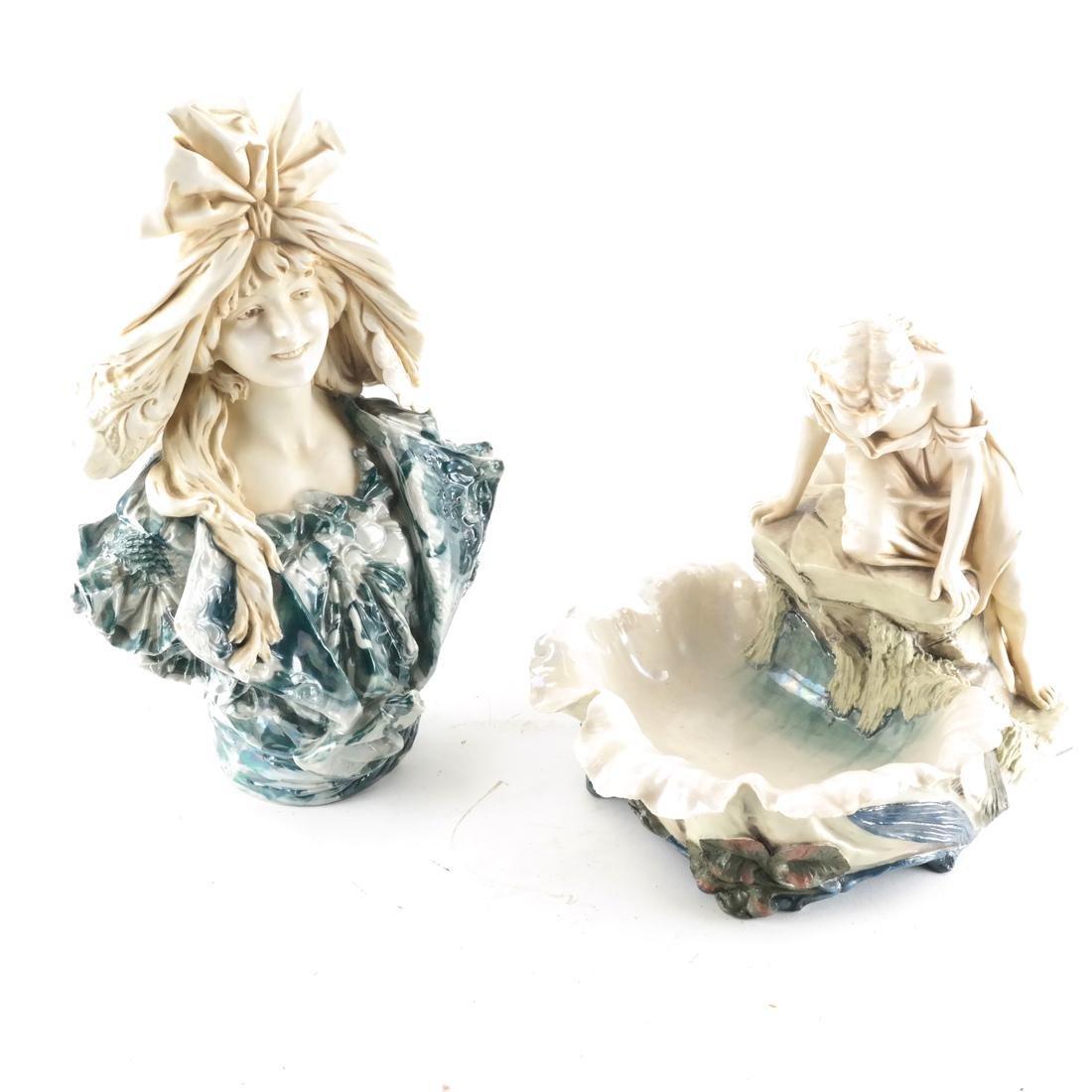 Two Royal Dux Ceramic Sculptures