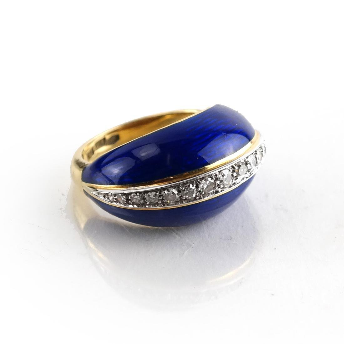 Italian YG Diamond, Lapis, Enamel Ring