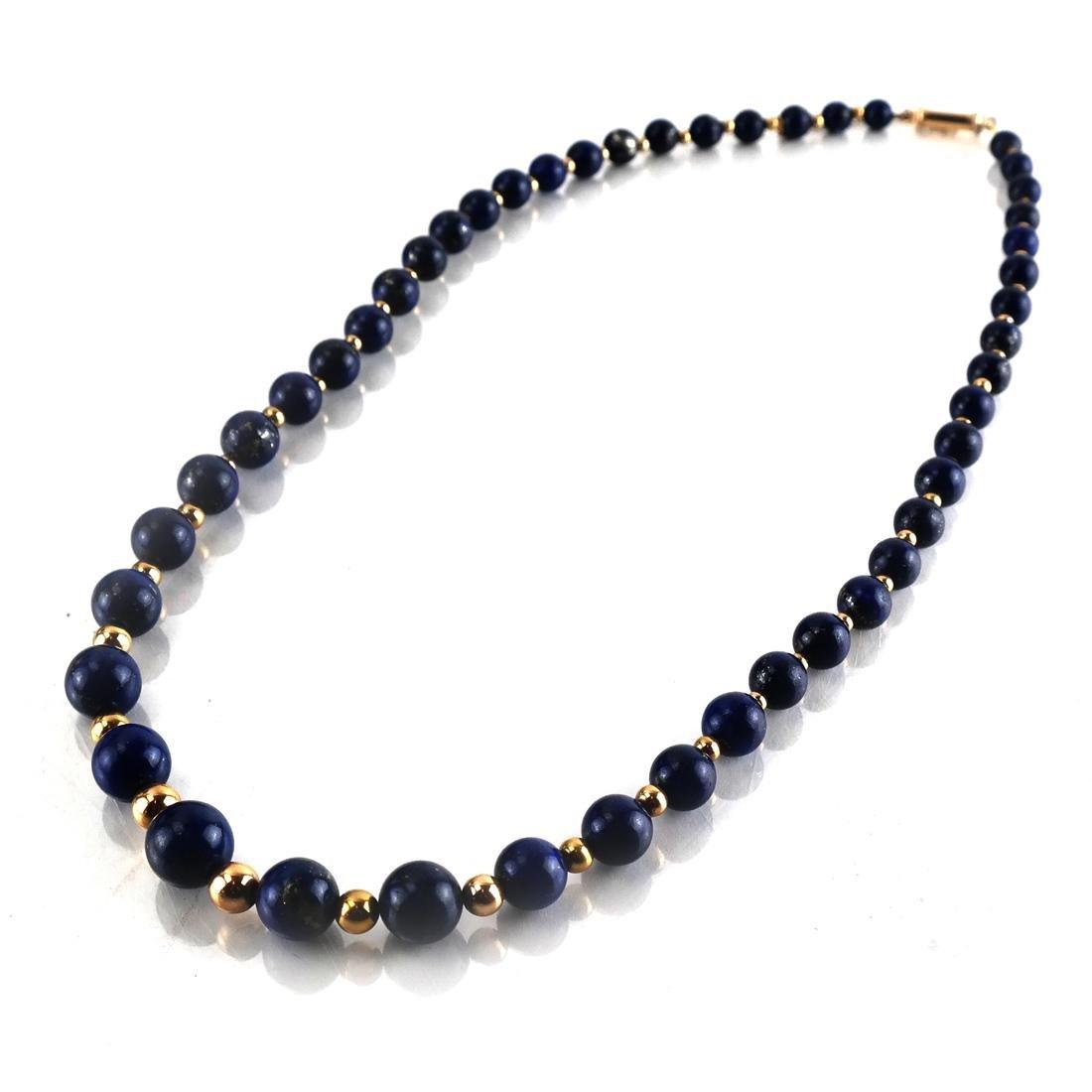 Lapis Graduated Bead & 14k Necklace