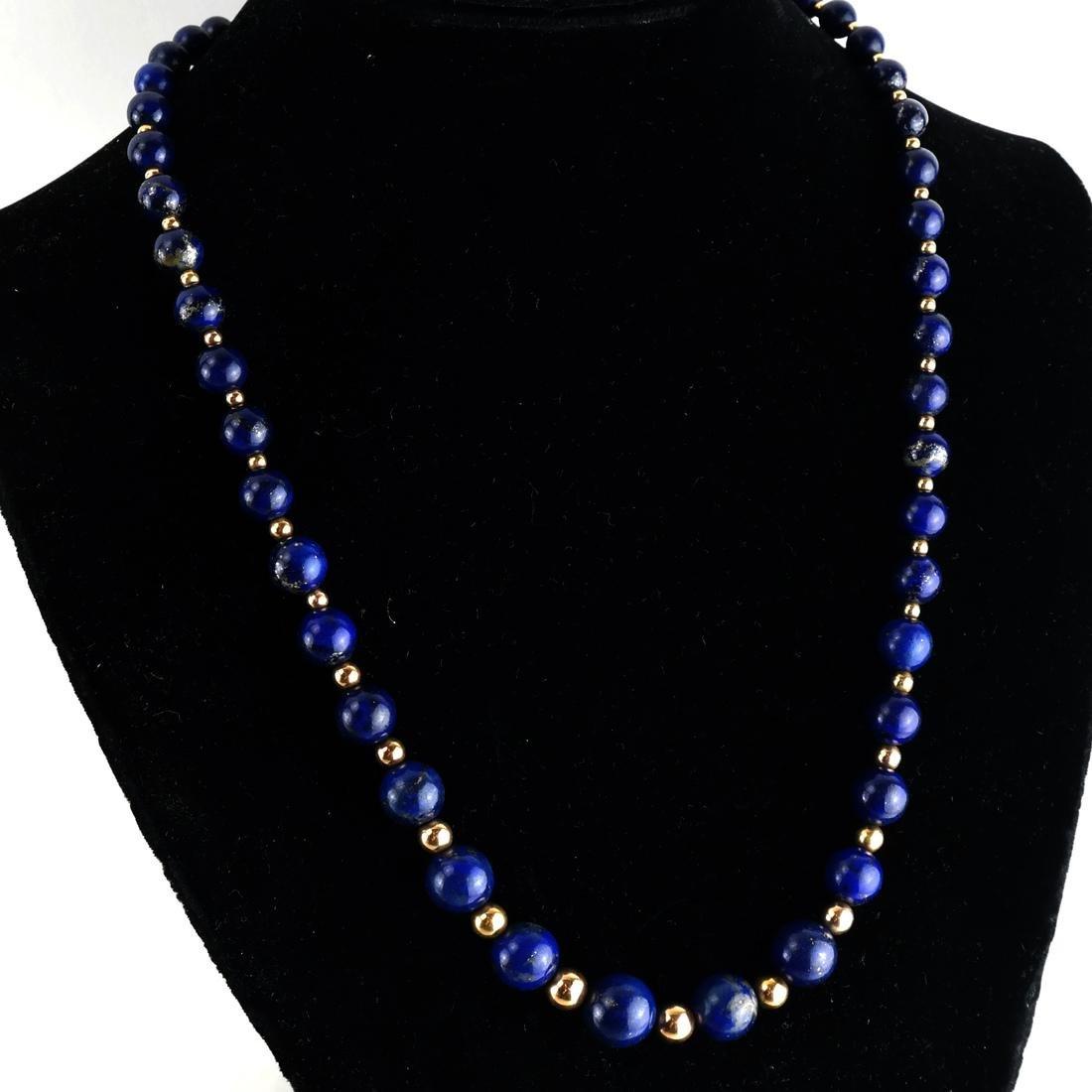 Lapis Graduated Bead & 14k Necklace - 2