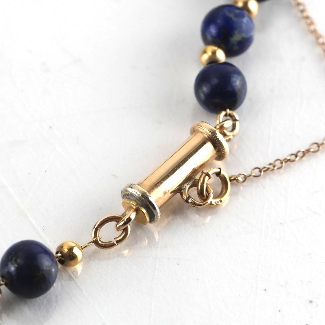 Lapis Graduated Bead & 14k Necklace - 3