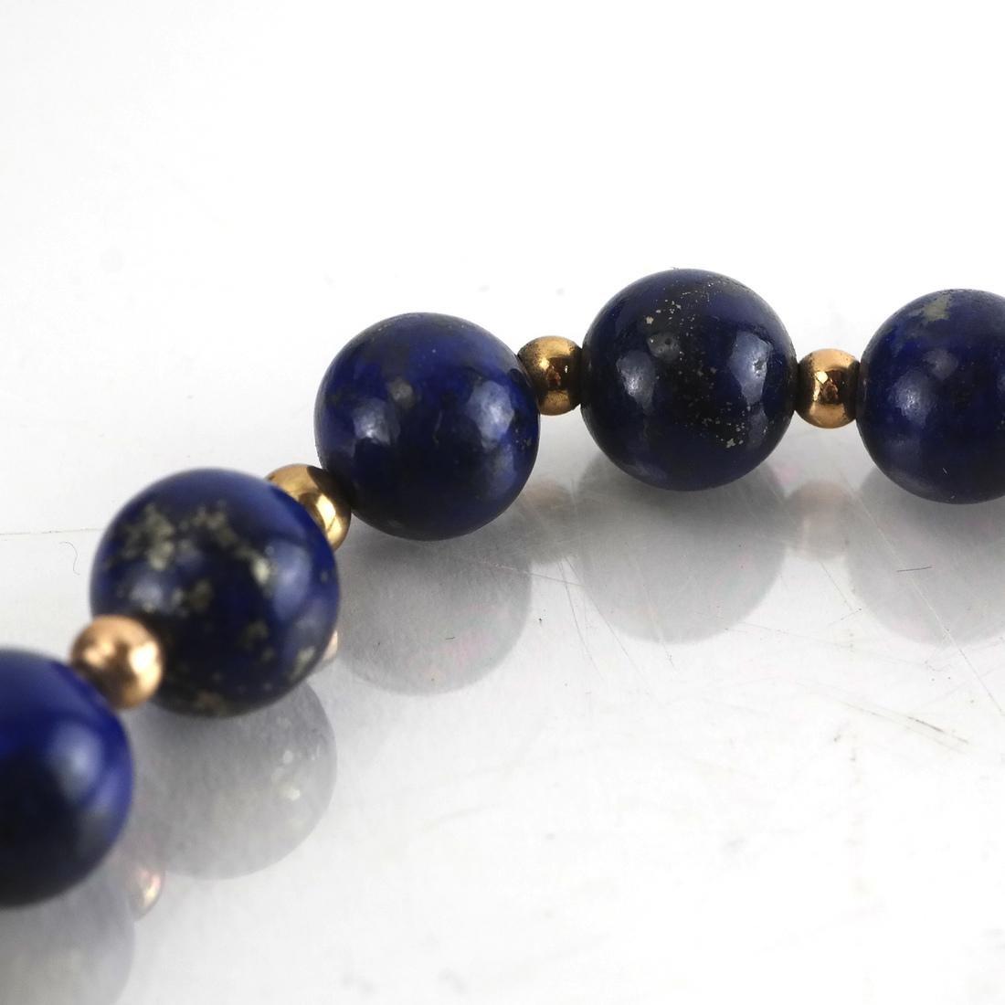 Lapis Graduated Bead & 14k Necklace - 4