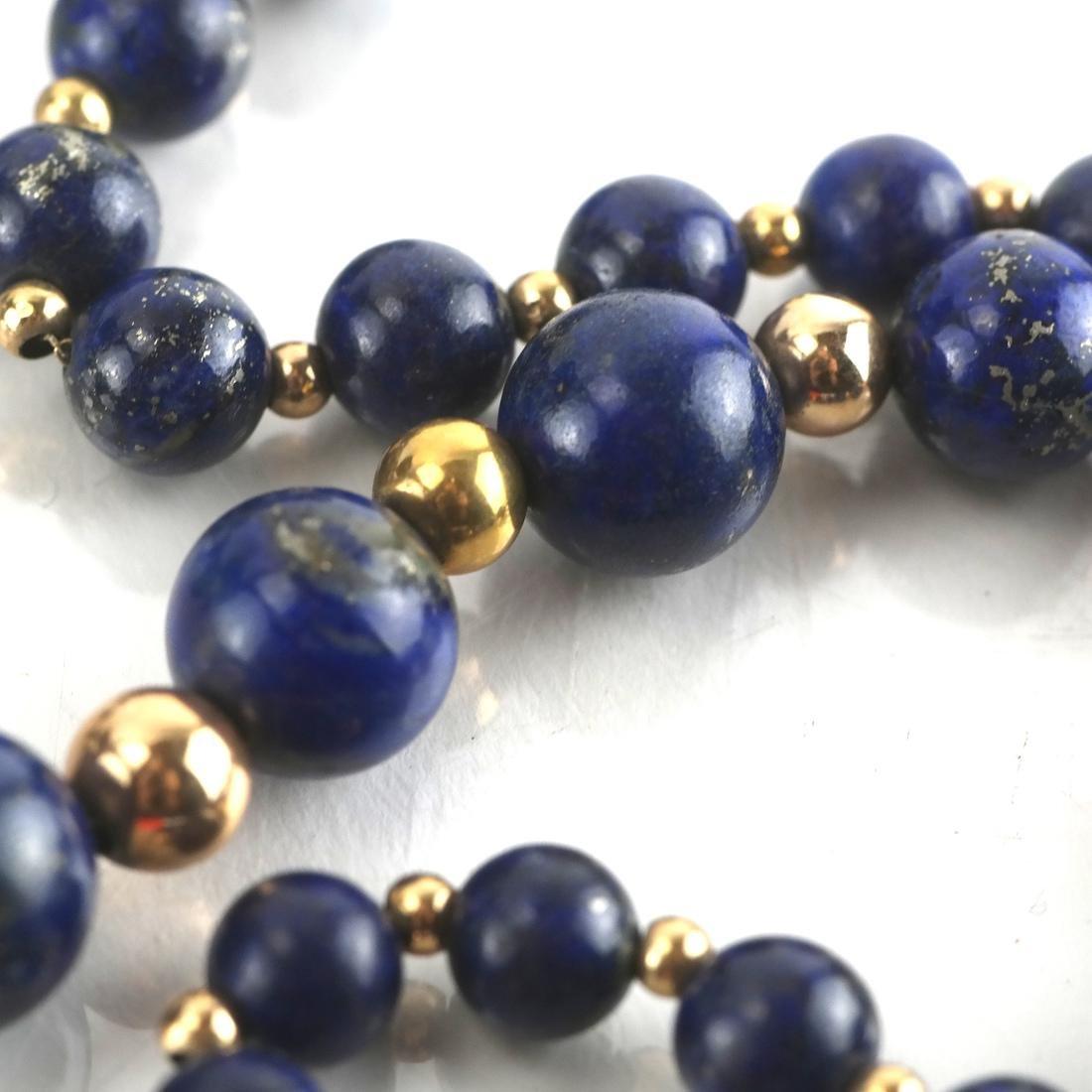 Lapis Graduated Bead & 14k Necklace - 5
