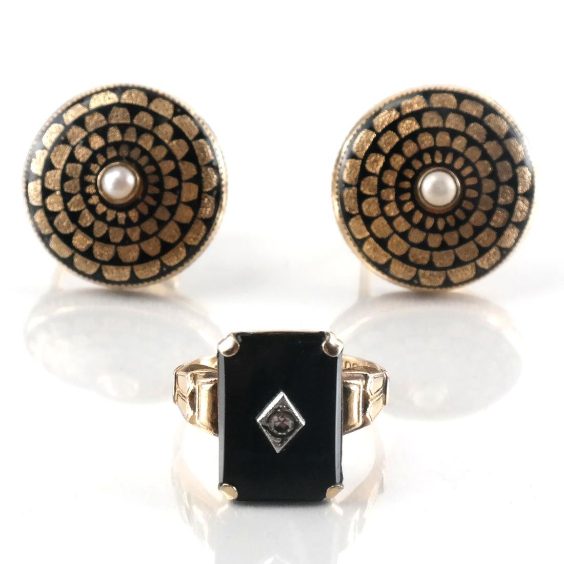 Victorian 14k Pearl Earrings and A Ring