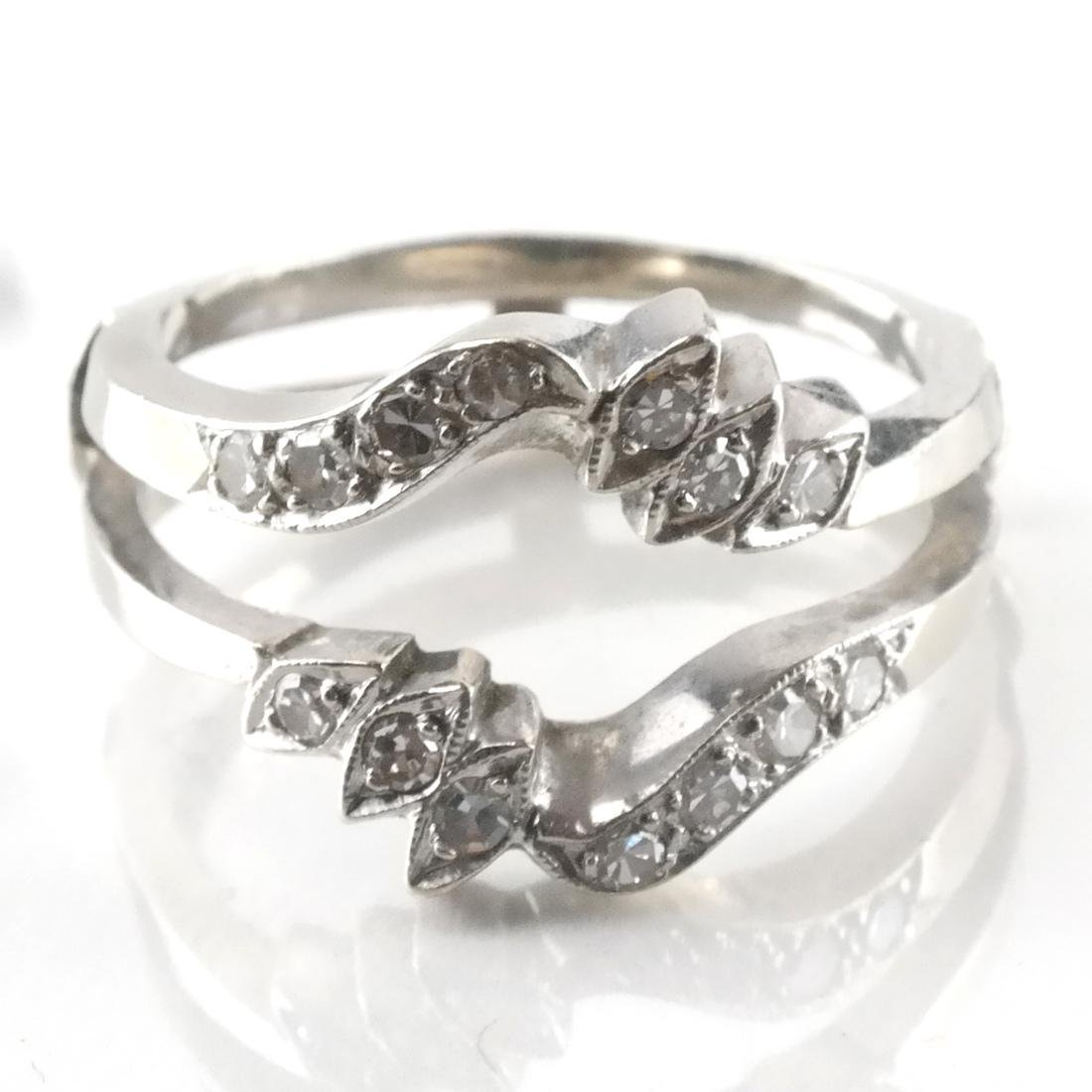 14k White Gold Inset Ring with Diamonds