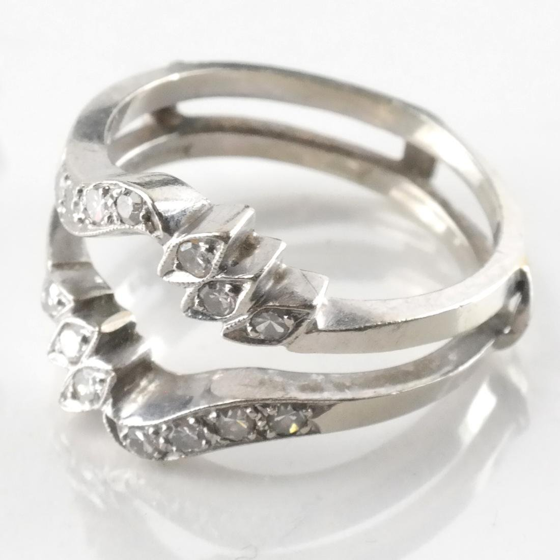 14k White Gold Inset Ring with Diamonds - 2