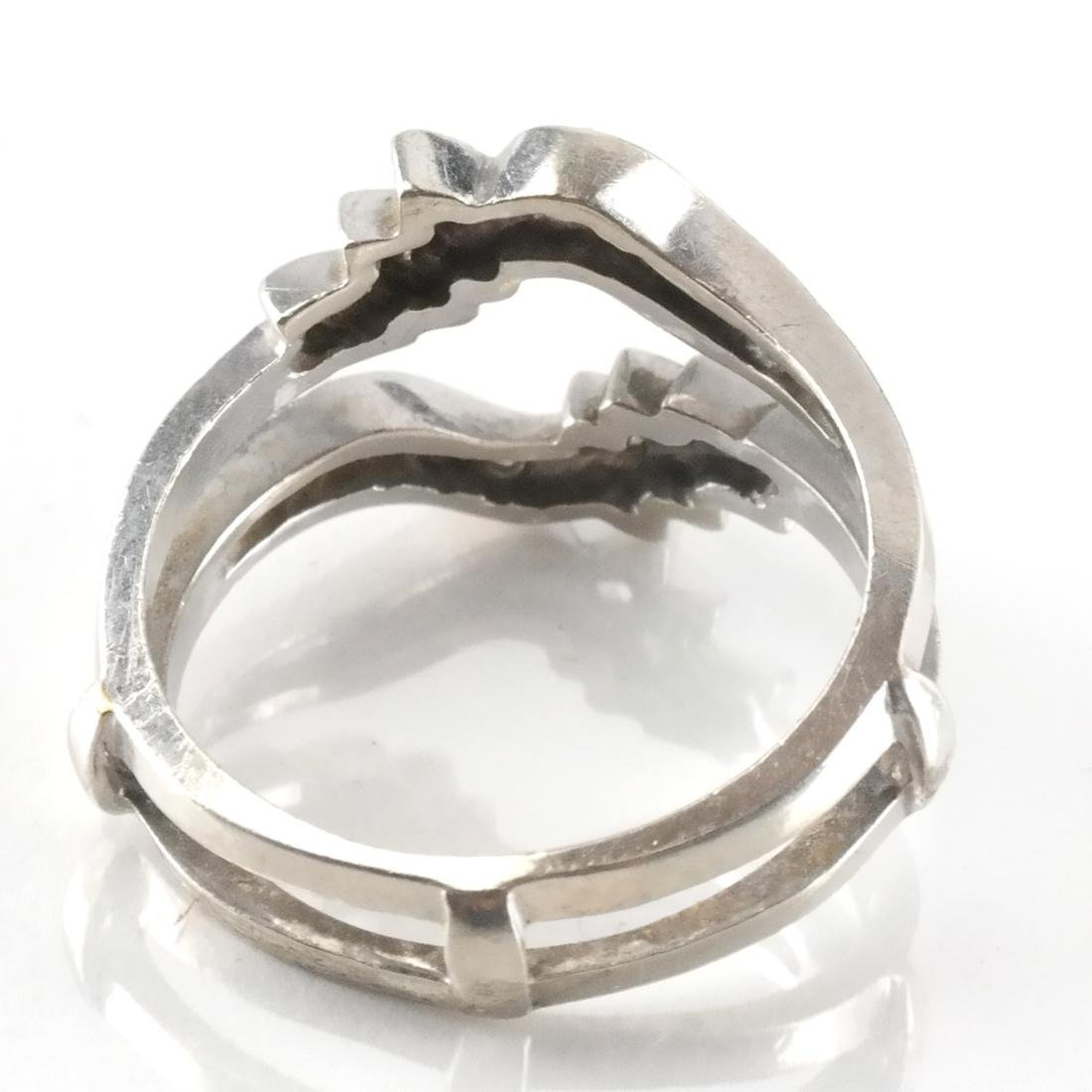 14k White Gold Inset Ring with Diamonds - 3