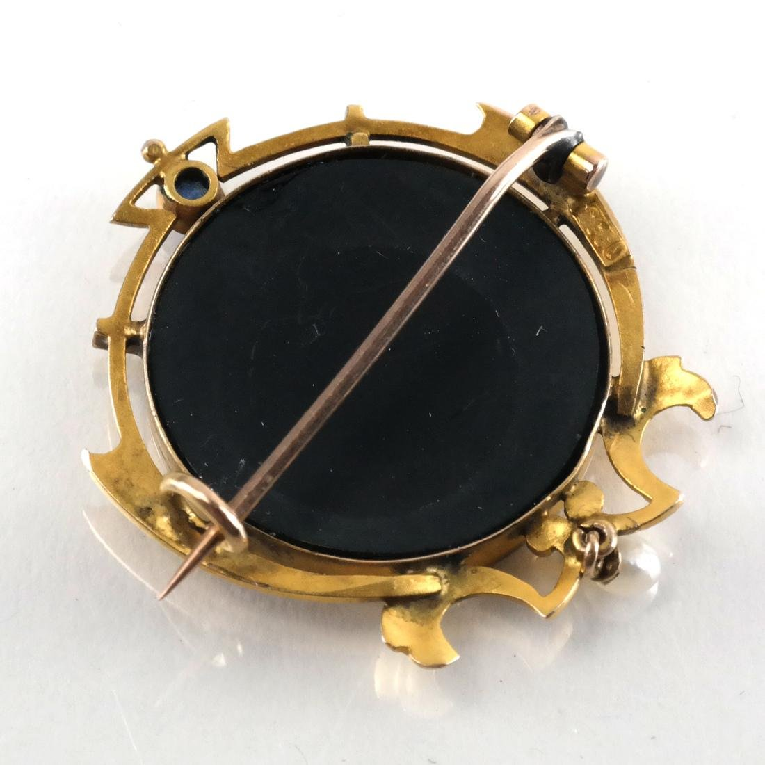 8k Yellow Gold Pin Set w/ Onyx, Sapphire, Pearl - 3