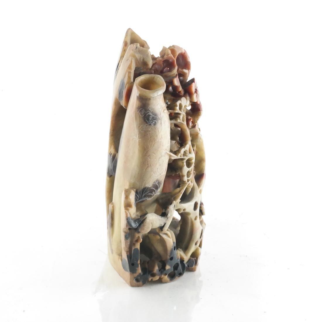 Chinese Ornate Hardstone Vase - 4