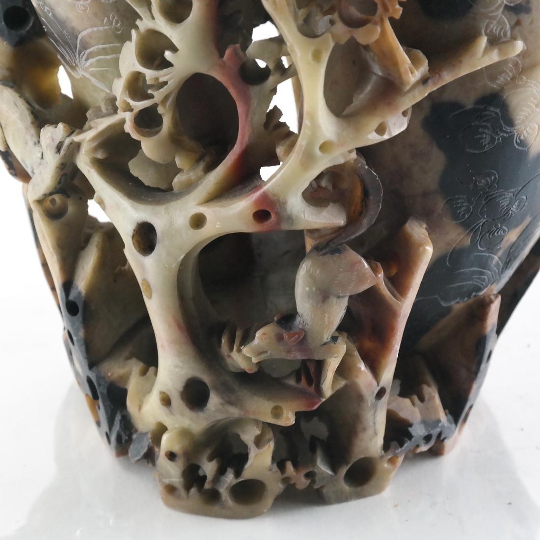 Chinese Ornate Hardstone Vase - 6