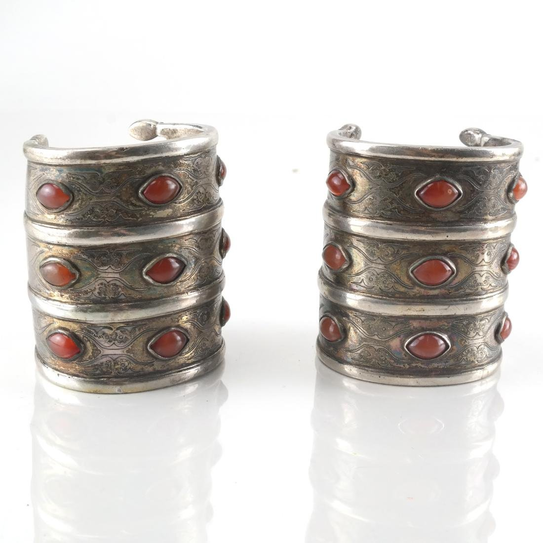 Pair Antique Silver & Agate Cuffs,