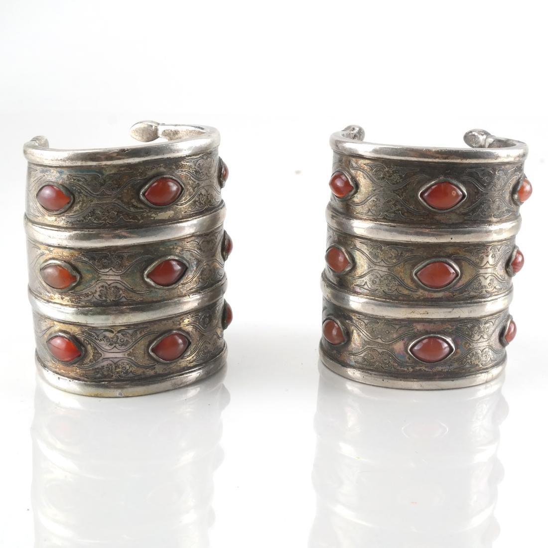 Pair Antique Silver & Agate Cuffs,