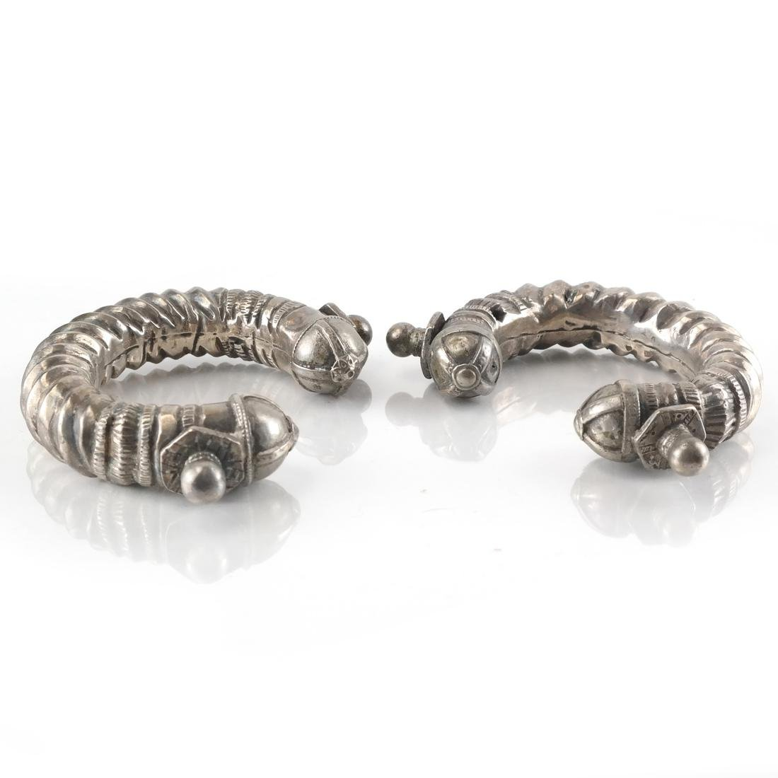 2 Antique Silver Bangle Bracelets,