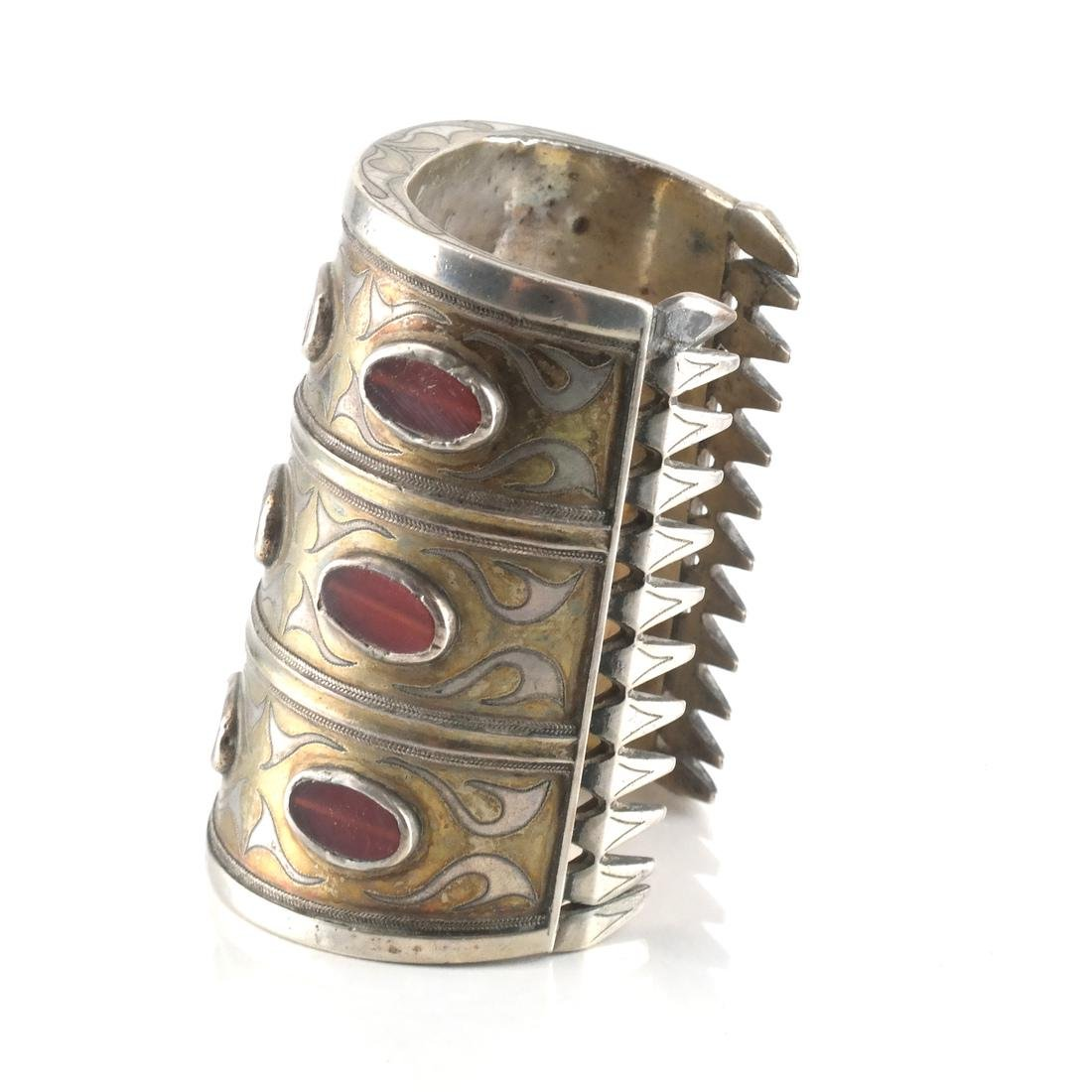 Antique Afghan/Central Asian Silver Jeweled Cuff