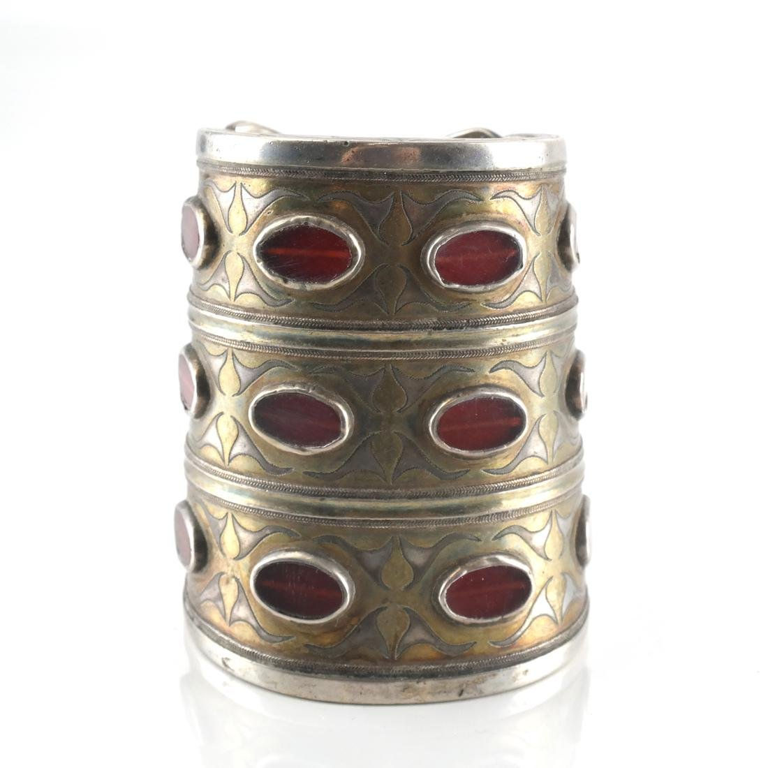 Antique Afghan/Central Asian Silver Jeweled Cuff - 2