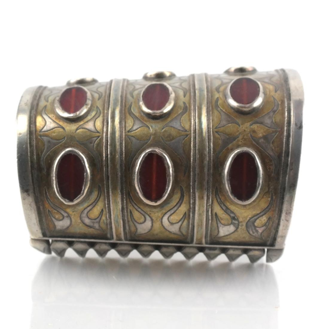 Antique Afghan/Central Asian Silver Jeweled Cuff - 4