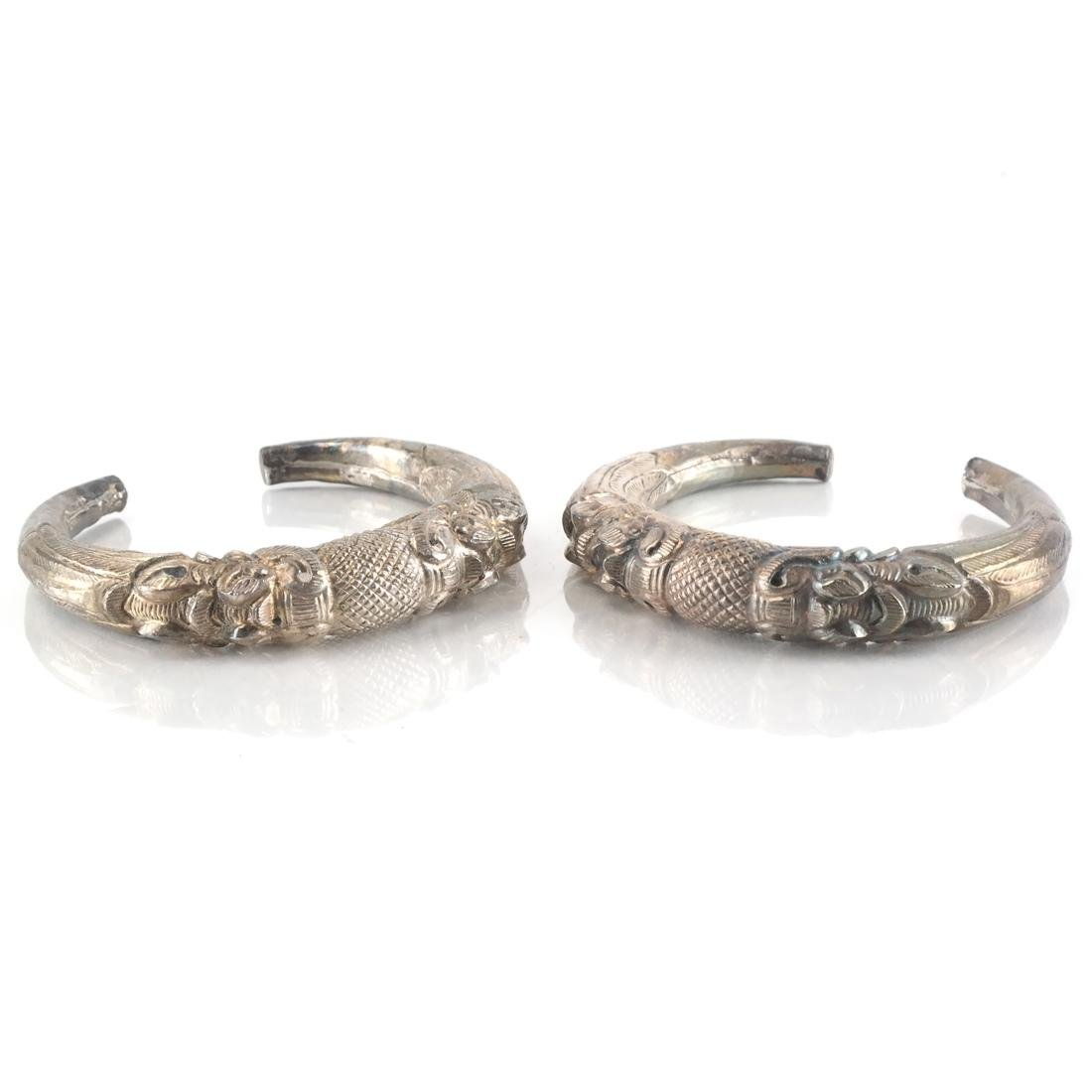 Pair Antique Afghan/Central Asian Silver Bangles