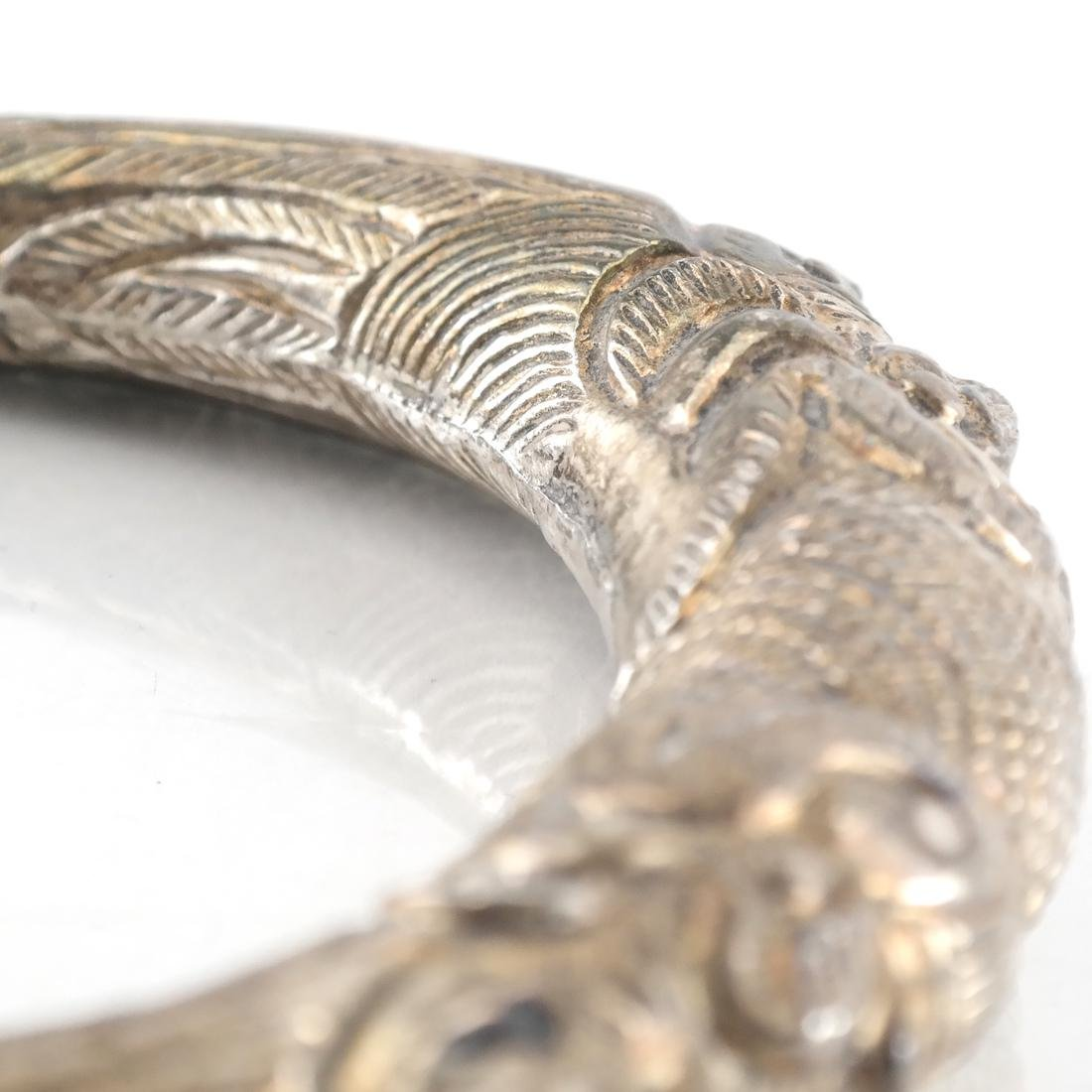 Pair Antique Afghan/Central Asian Silver Bangles - 4
