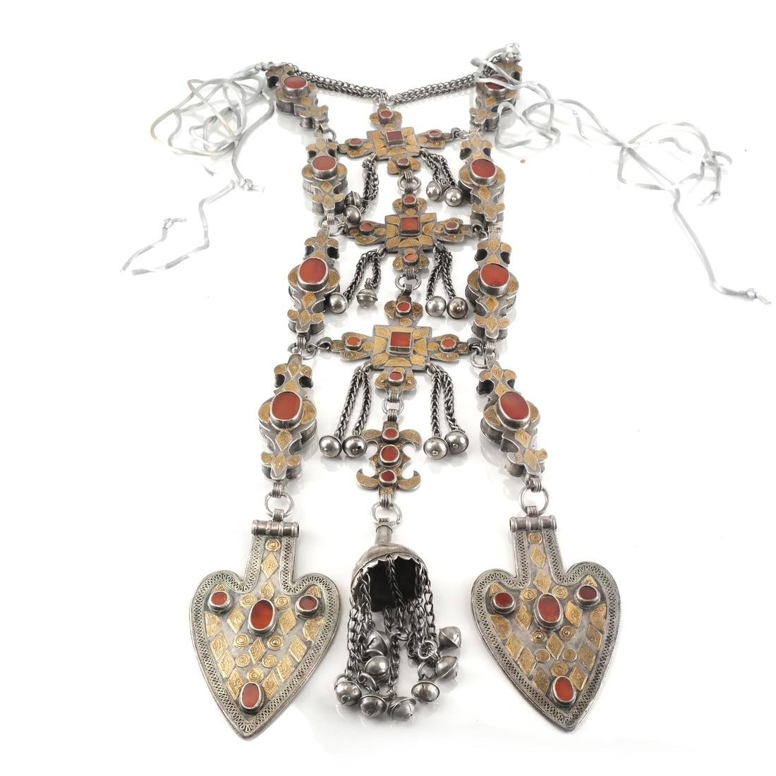Ornate Silver Afghan/Central Asian Jeweled Necklace