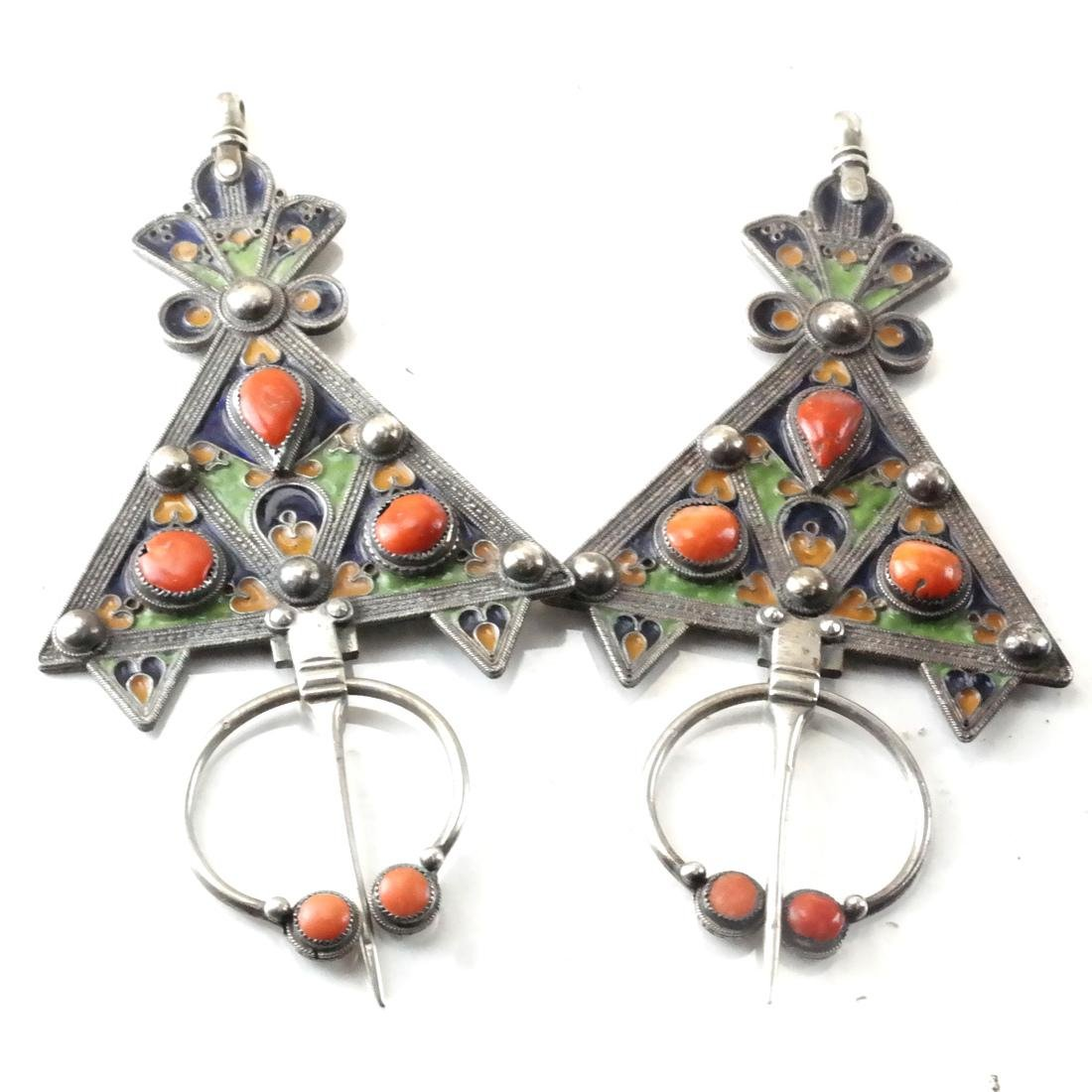 Antique Silver & Enamel Afghan/Central Asian Drops