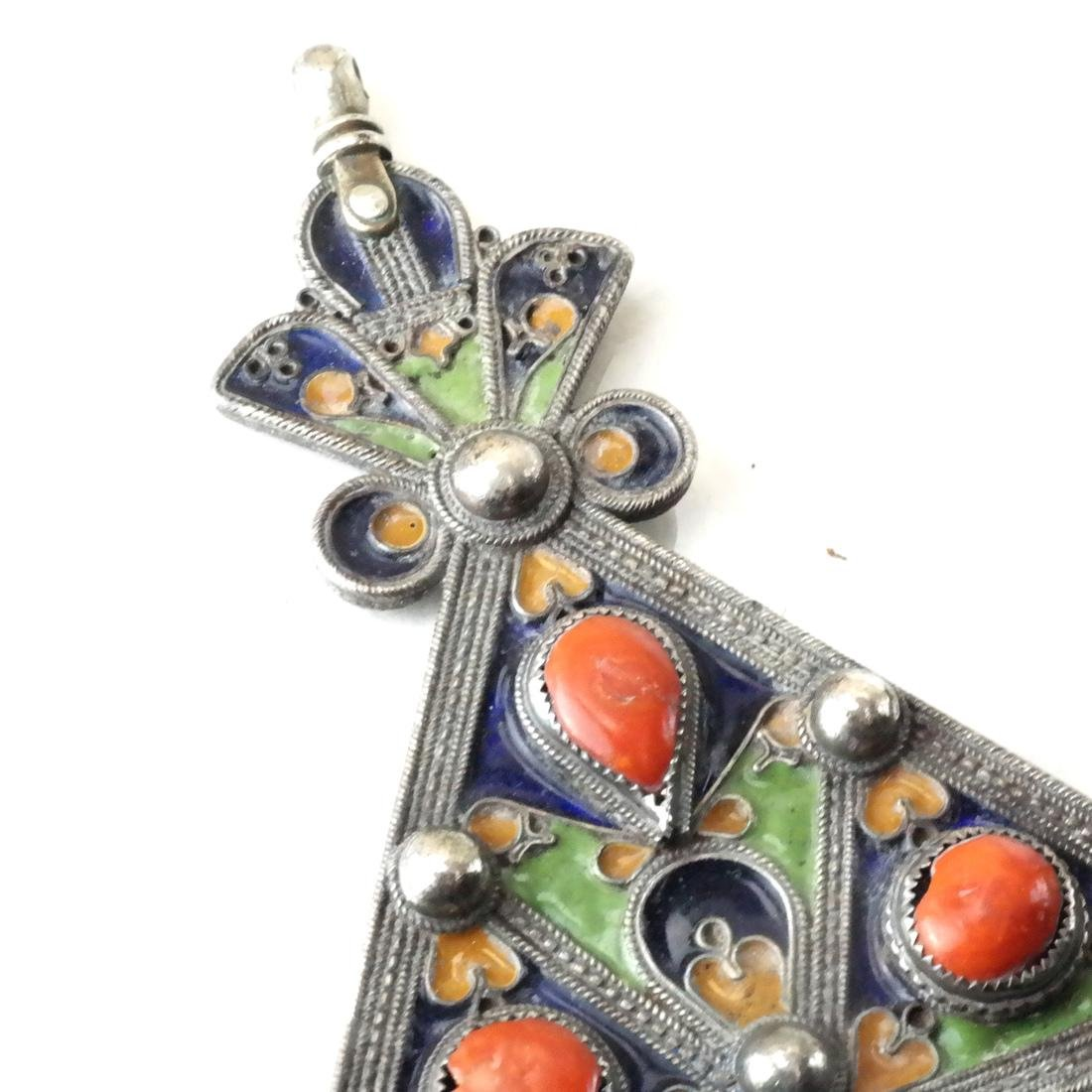 Antique Silver & Enamel Afghan/Central Asian Drops - 3