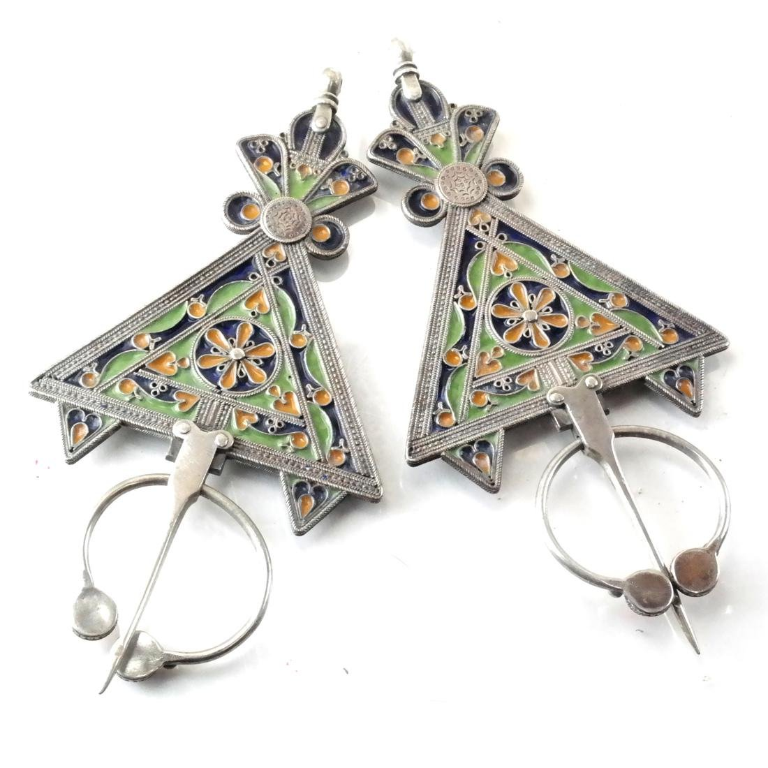 Antique Silver & Enamel Afghan/Central Asian Drops - 4