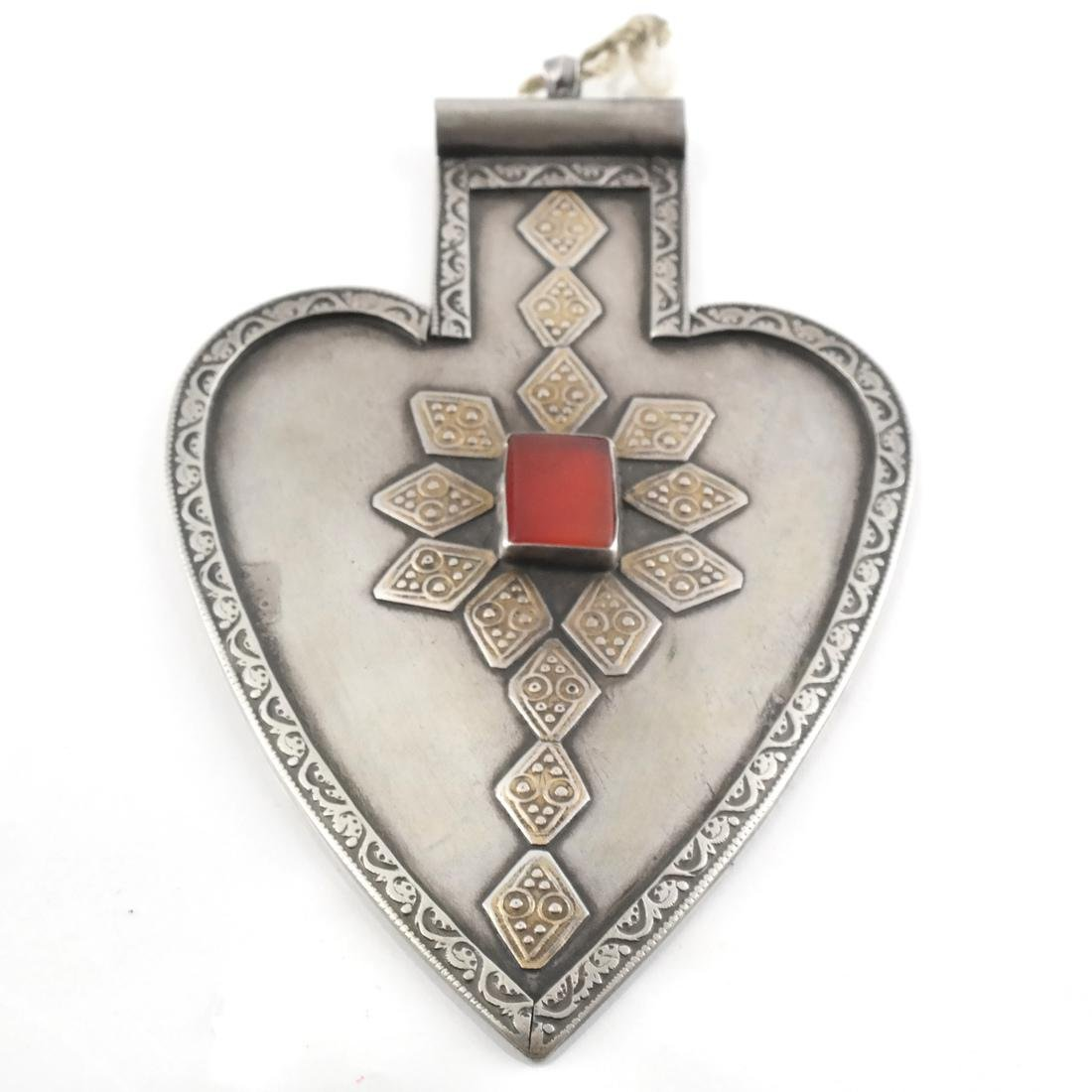 Afghan/Central Asian Silver and Agate Antique Pendant - 2