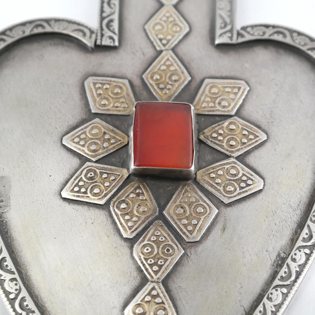 Afghan/Central Asian Silver and Agate Antique Pendant - 3