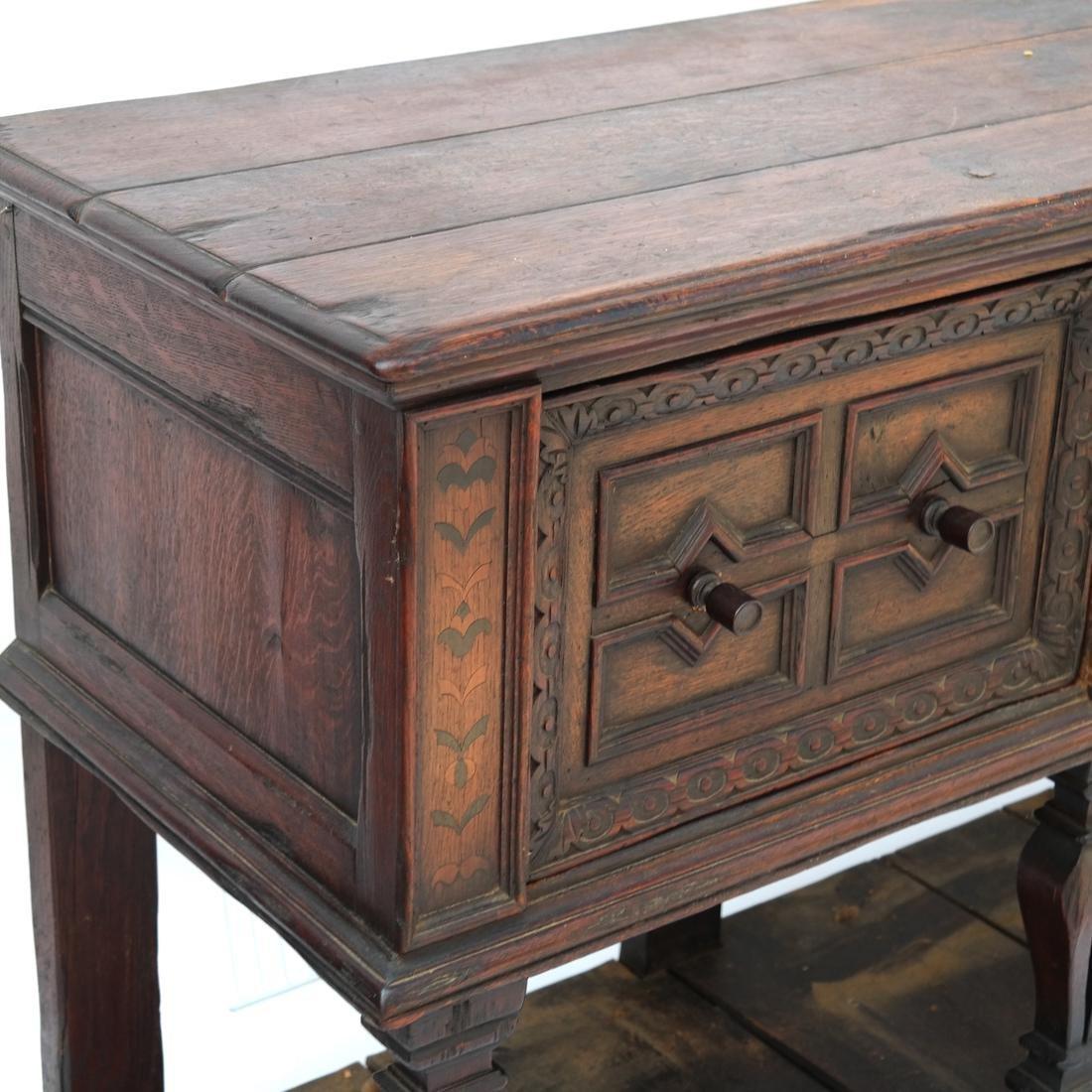 Jacobean-Style Inlaid Oak Sideboard - 2