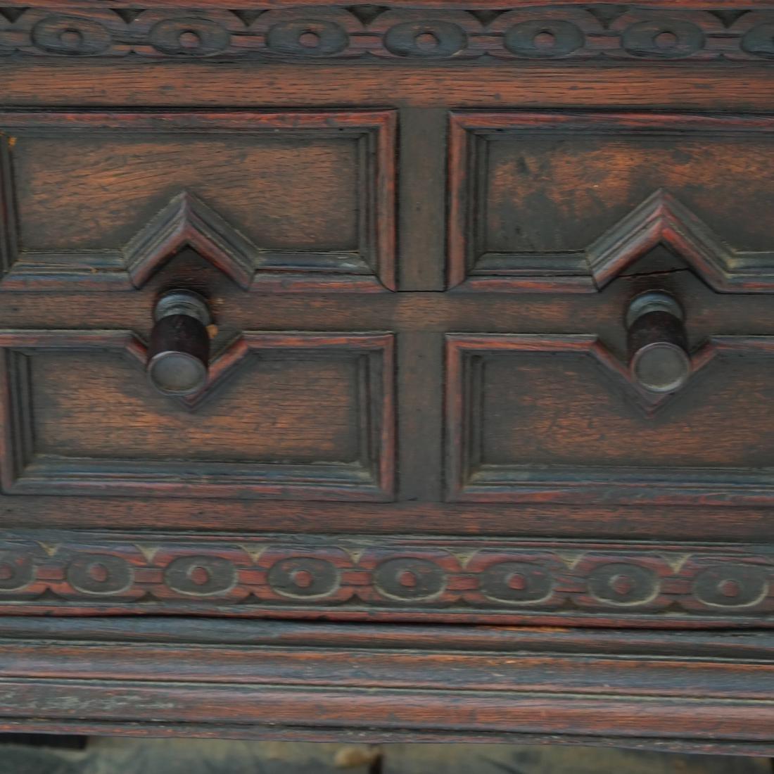 Jacobean-Style Inlaid Oak Sideboard - 3