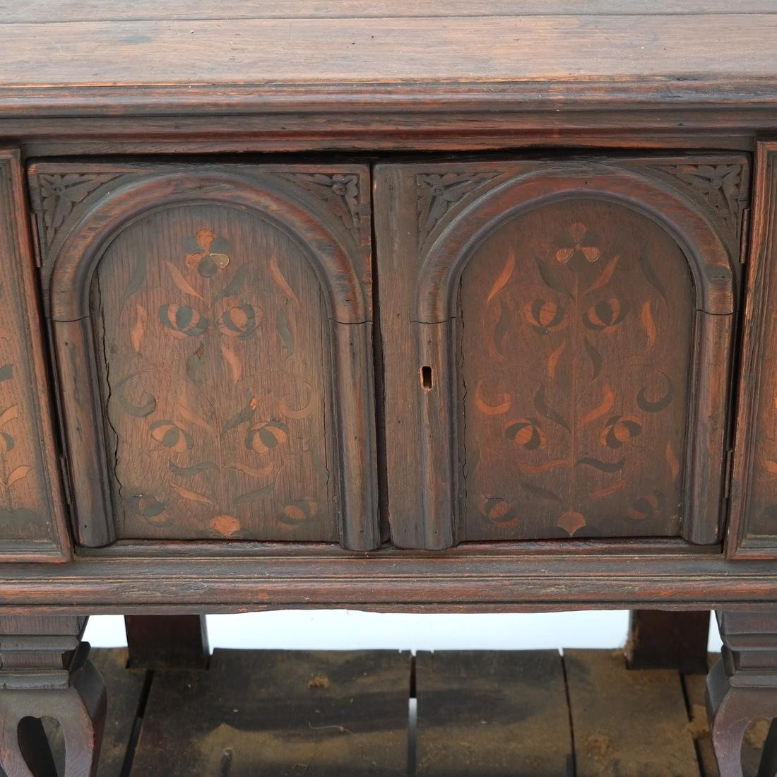 Jacobean-Style Inlaid Oak Sideboard - 4