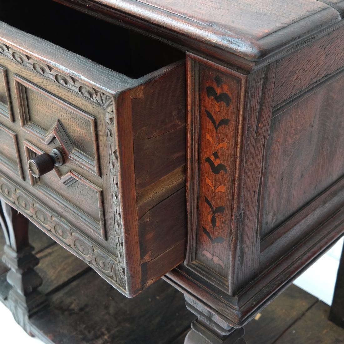Jacobean-Style Inlaid Oak Sideboard - 6
