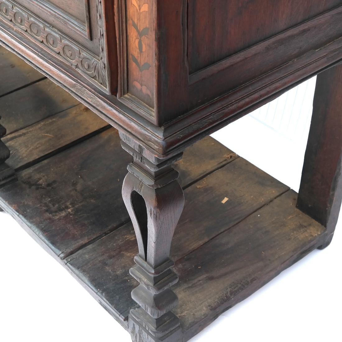 Jacobean-Style Inlaid Oak Sideboard - 7