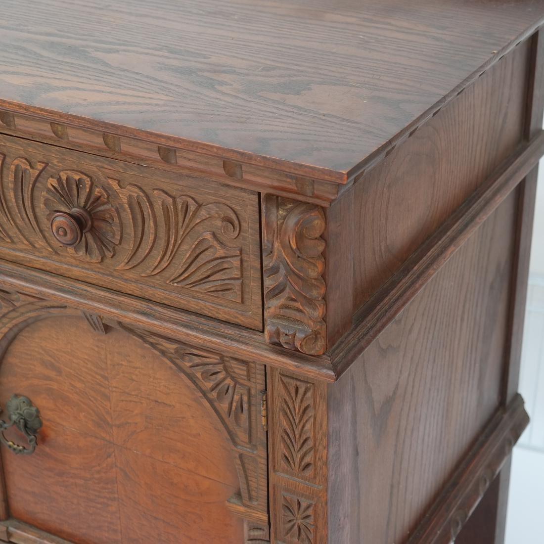20th Century Oak Carved Sideboard. - 4