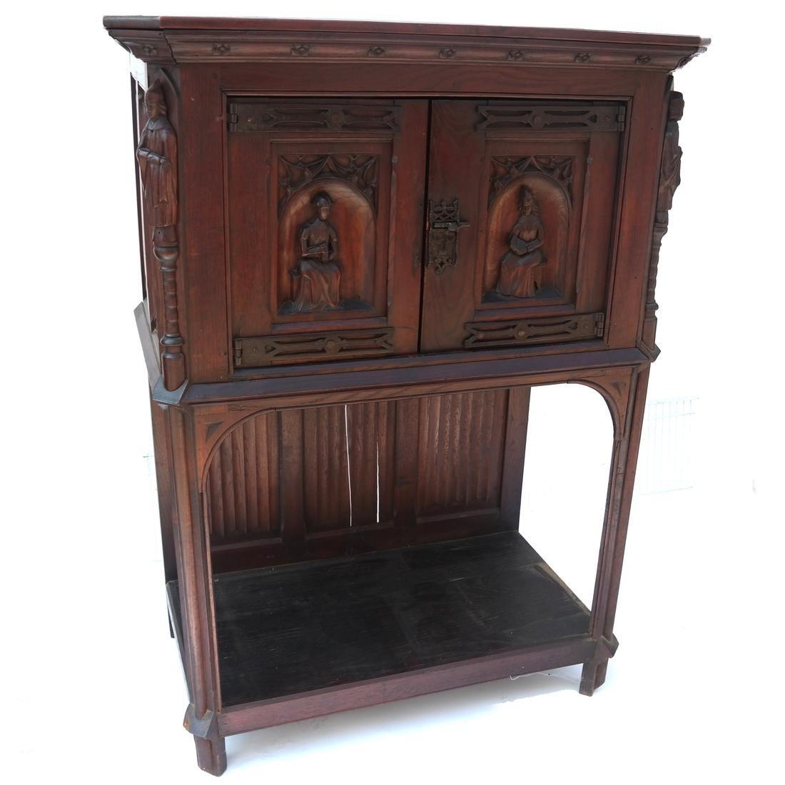 Tudor-Style Two-Door Cabinet