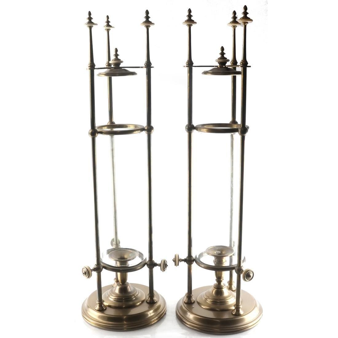 Pair of Unusual Hurricane Candlestick/Lanterns