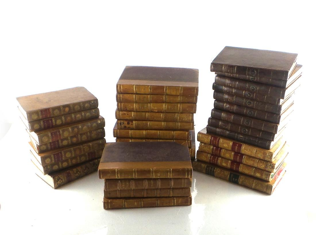 Lot of 34 French Leather Bound Books