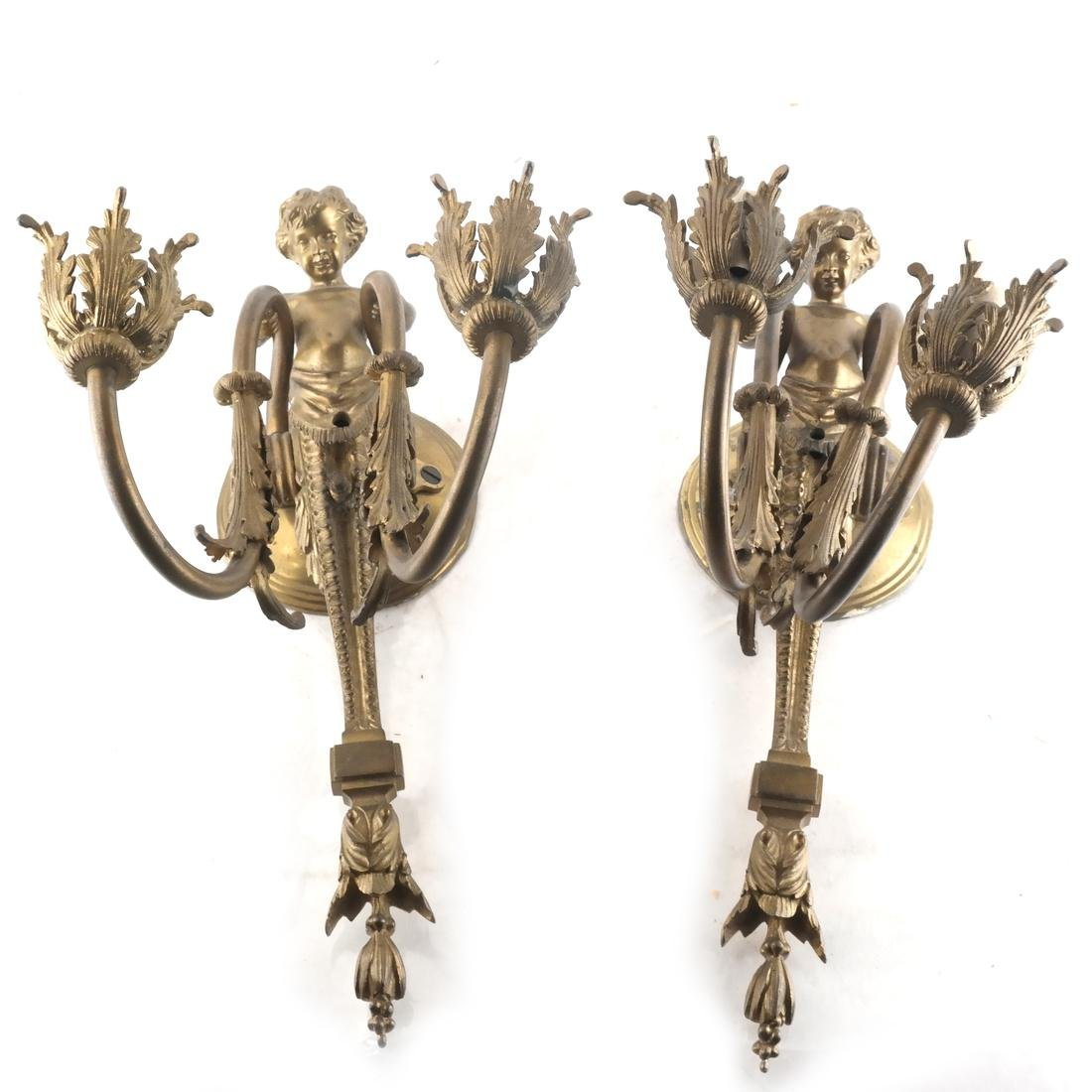 Pair of French-Style Cherub Sconces