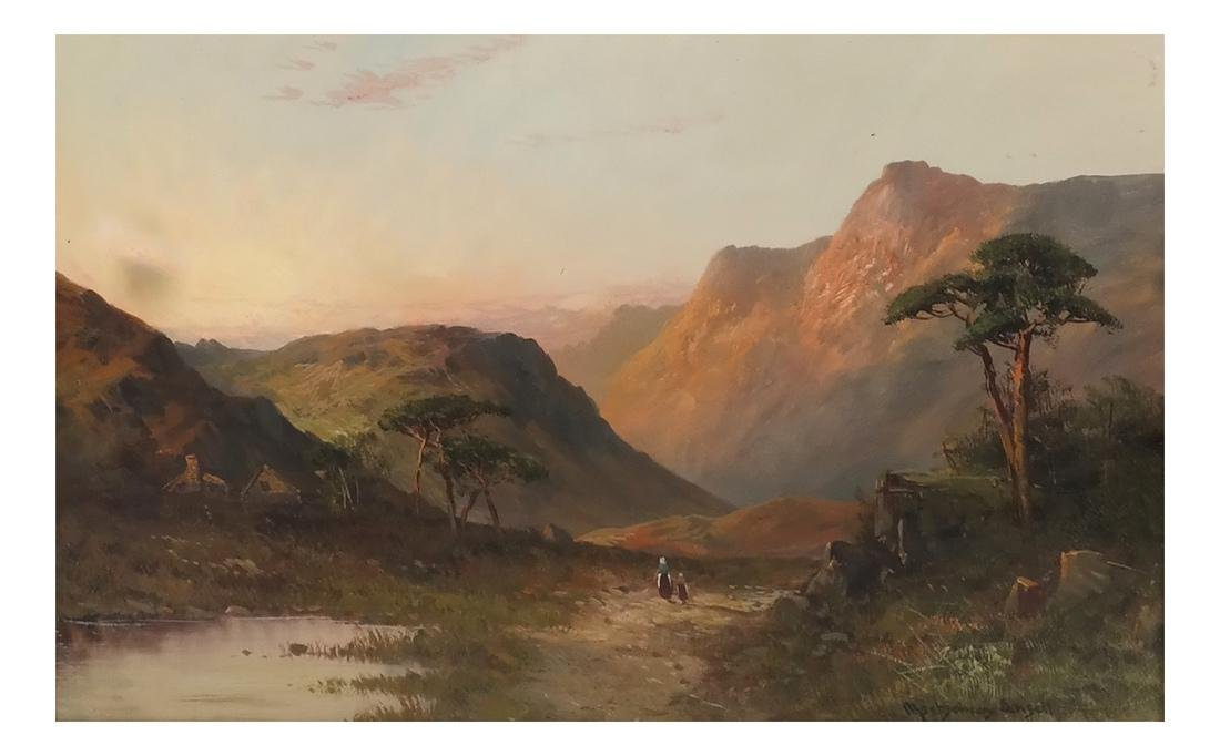 Montgomery Ancell, Mountain Scene, Framed Oil on Canvas