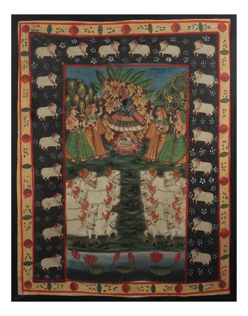 Indian Wedding Scene on Fabric