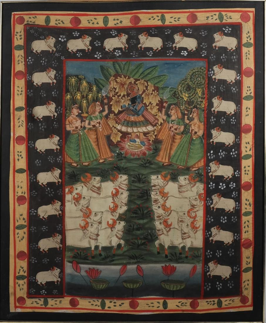 Indian Wedding Scene on Fabric - 2