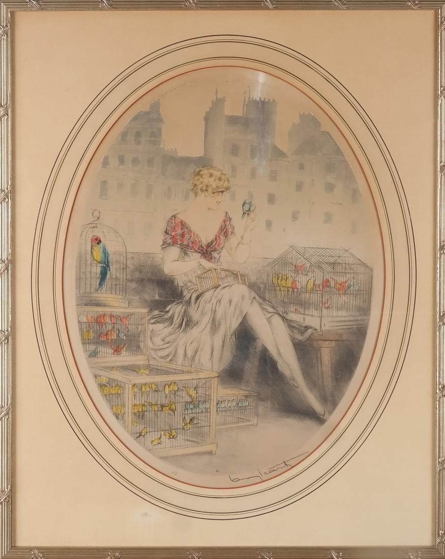 Louis Icart Woman & Birds Etching - 2