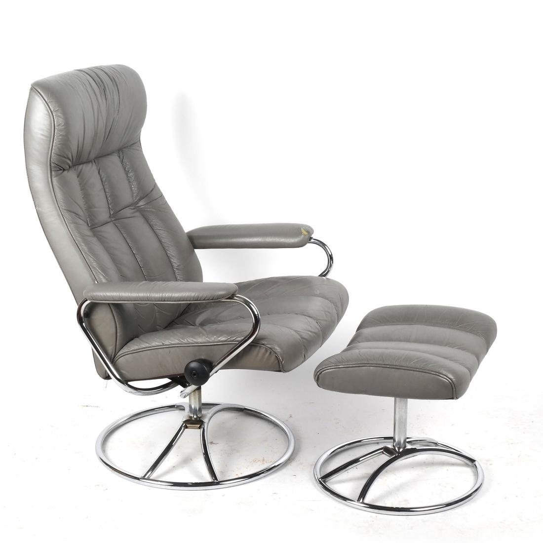 Contemporary Gray Chair and Ottoman