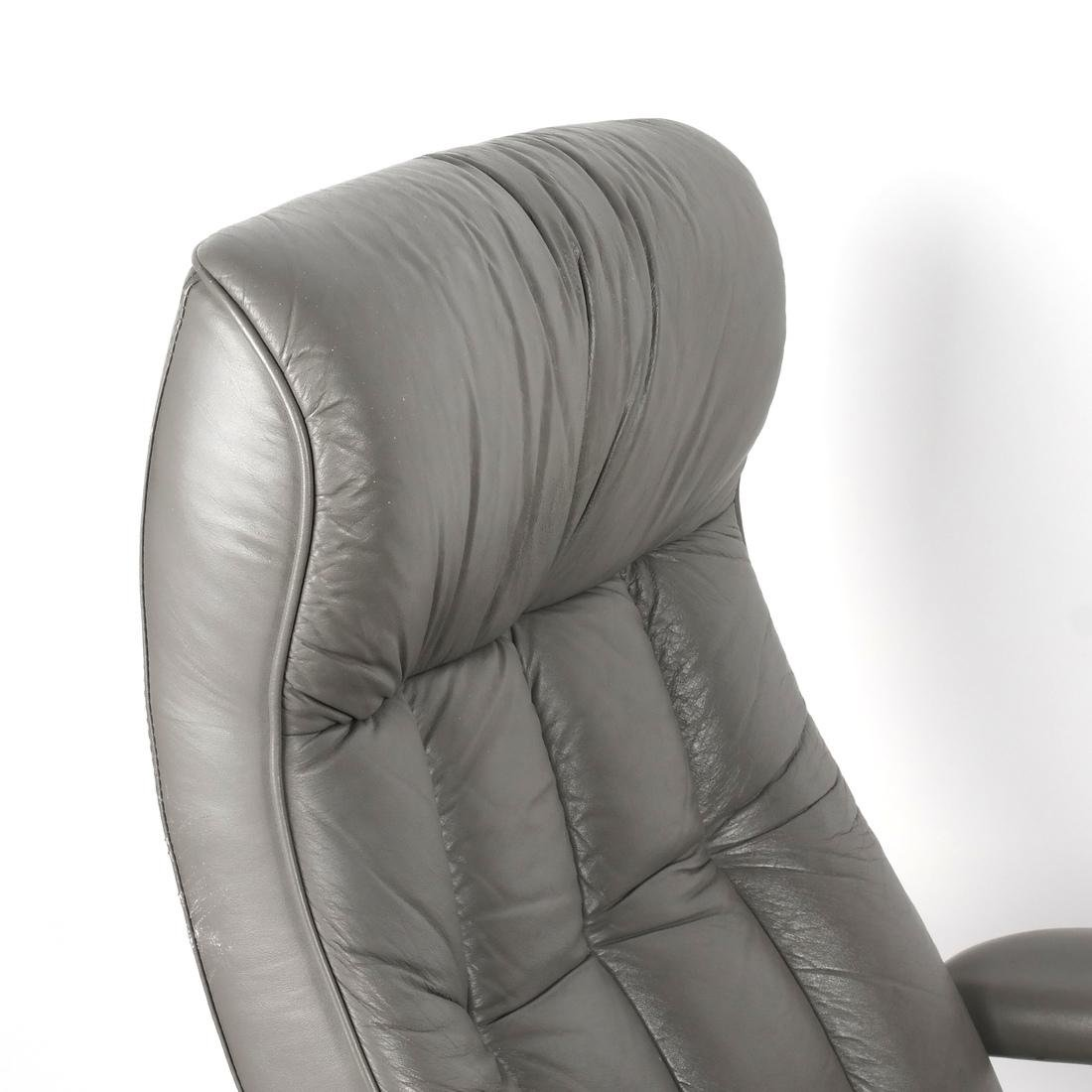 Contemporary Gray Chair and Ottoman - 5