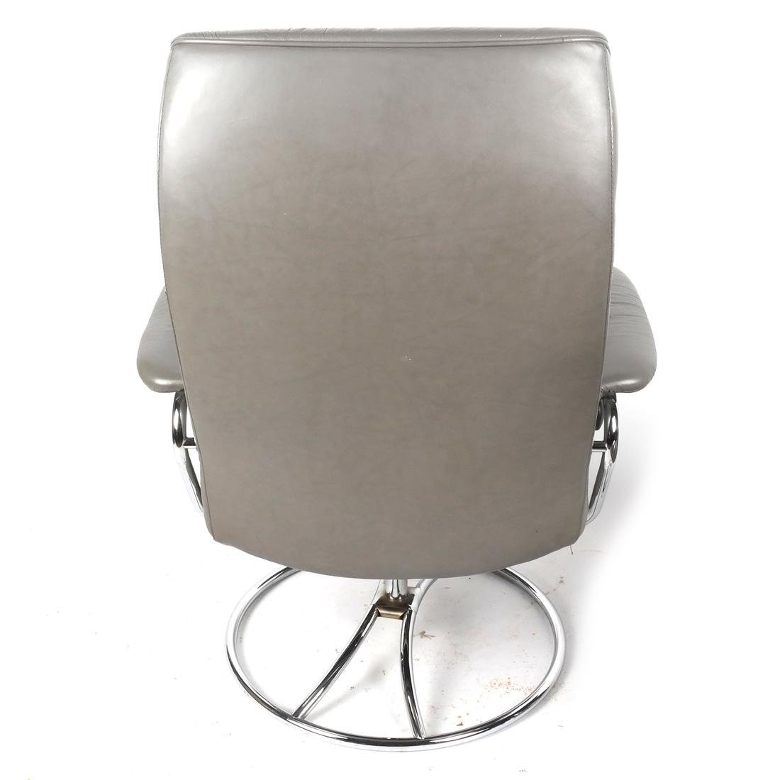 Contemporary Gray Chair and Ottoman - 6