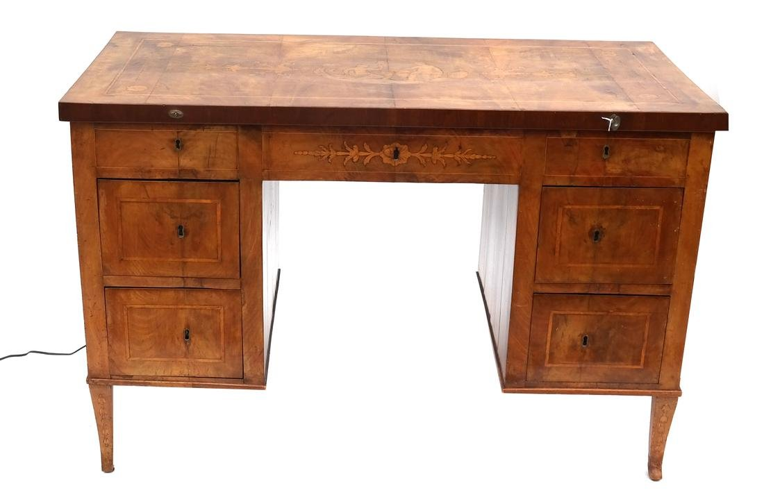Antique Continental Olivewood Vanity Poudreuse